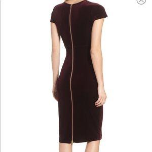 Velvet Midi Dress wine color